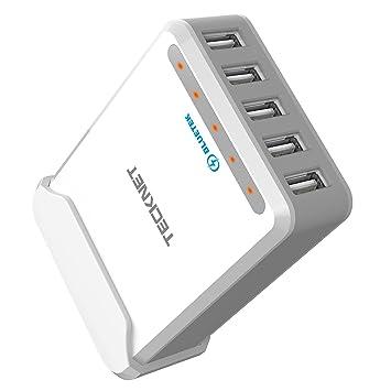 TeckNet – 50 W 5 V/10 A 6 puertos Cargador USB familiar ...