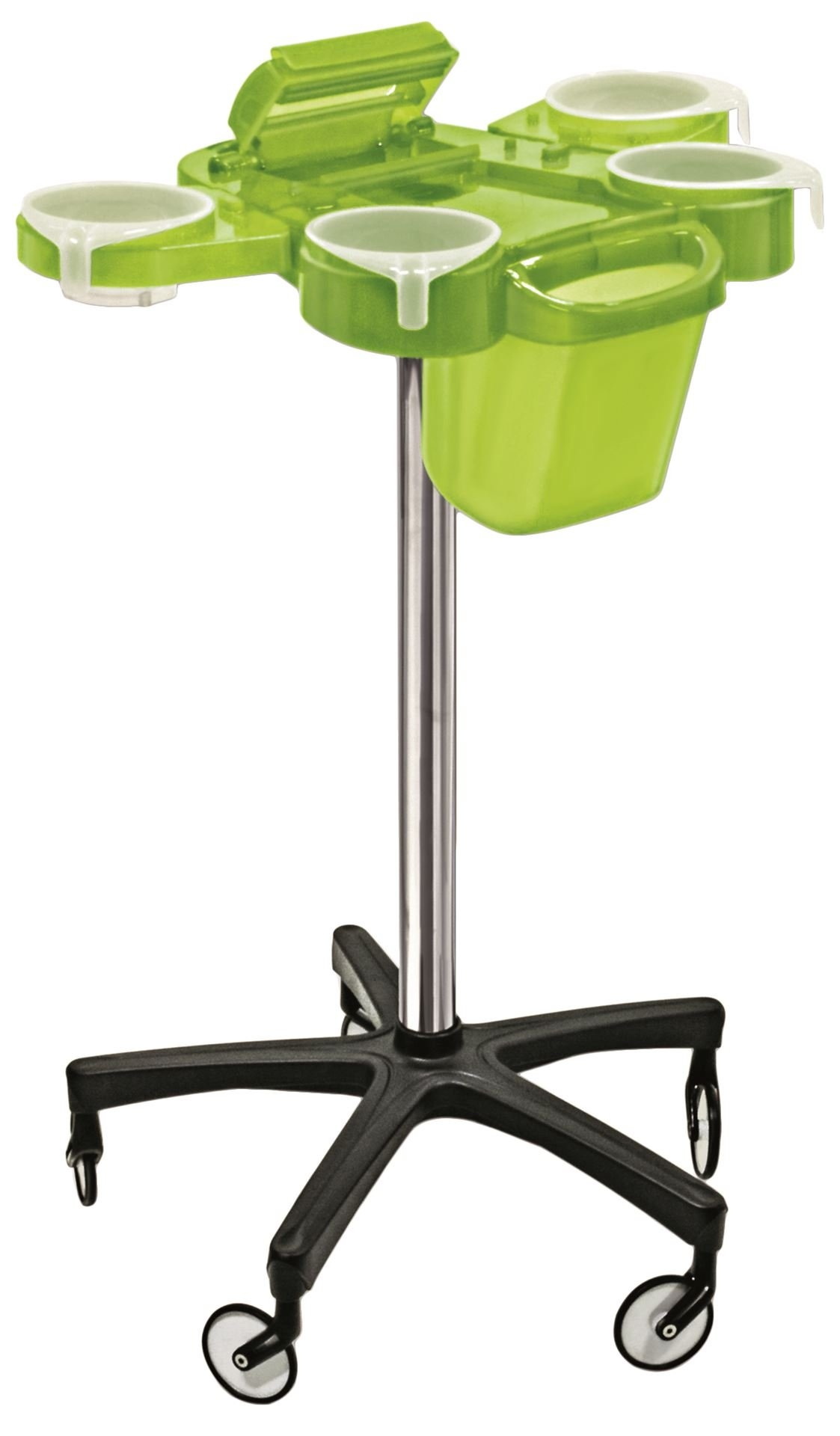 Ceriotti Italian Green Service Plus Hair Coloring Perm Cart With Foil Cutter, Waste Can and Oversized Italian Wheels Made In Italy