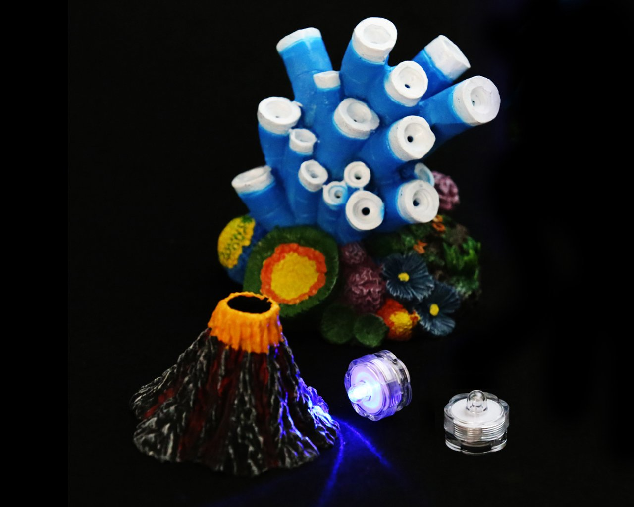 Winterworm Adornos para acuarios con luces de acuario, resina, coral volcánico para decorar peceras: Amazon.es: Productos para mascotas