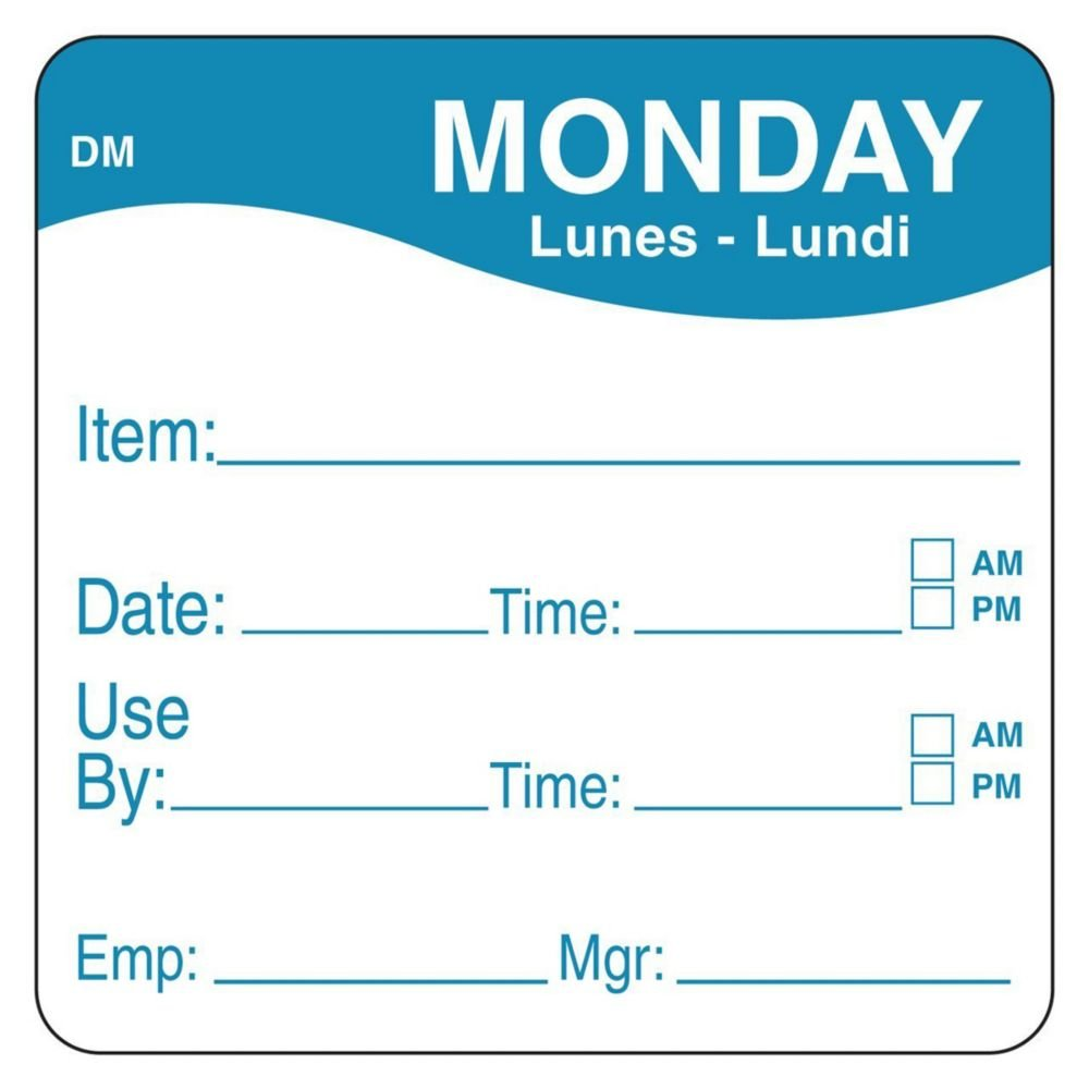 DayMark 1100531 DissolveMark 2'' Monday Use By Day Square - 250 / RL