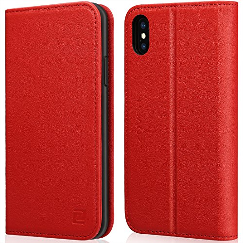 iPhone X Wallet Case ZOVER with Auto Sleep/Wake Function Genuine Leather Case Kickstand Feature Card Slots and Magnetic Closure for Apple Phone X Gift (Apple Iphone Genuine Leather)