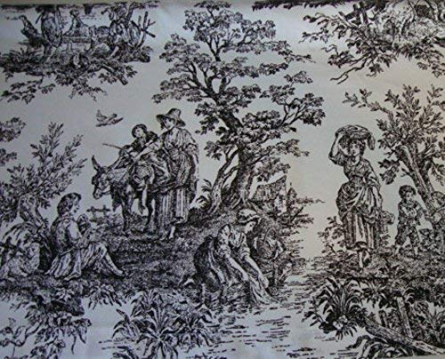 Valance Black and White Toile Fabric Window Treatment Topper 53 W X 14 L