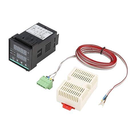 Controlador digital de temperatura y humedad con sensor y cable, 45 x 45mm