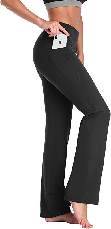 Amazon Com Dayoung Womens Bootcut Yoga Pants With Pockets Long Bootleg Flare Tummy Control Workout Running Pants 33 Inseam Black Xx Large Clothing