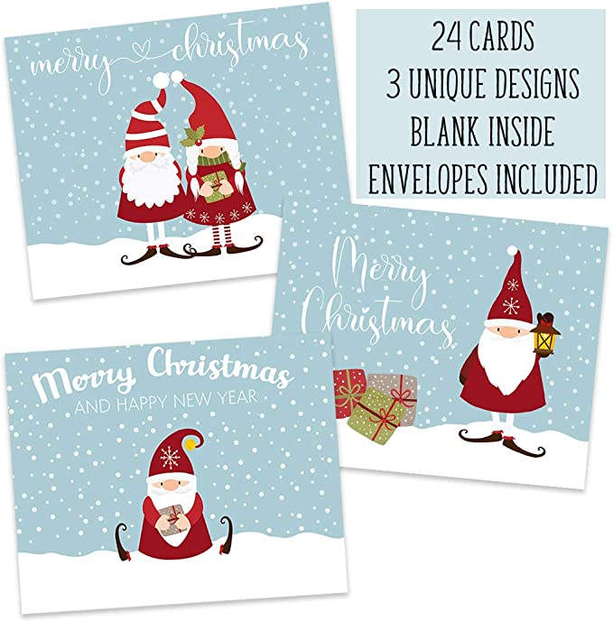 Amazon Com Gnome Christmas Cards Holiday Greetings Gnoel Santa Gnomes Trolls Dwarf Kitsch Funny Cute Seasons Greetings Merry Christmas Happy Holidays Folding Cards And Envelopes Assorted Pack Of Cards 24 Count