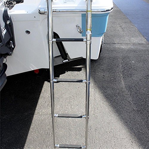 M-ARINE BABY 4 Step over Platform Stainless Steel Telescoping Ladder for Boat Yacht