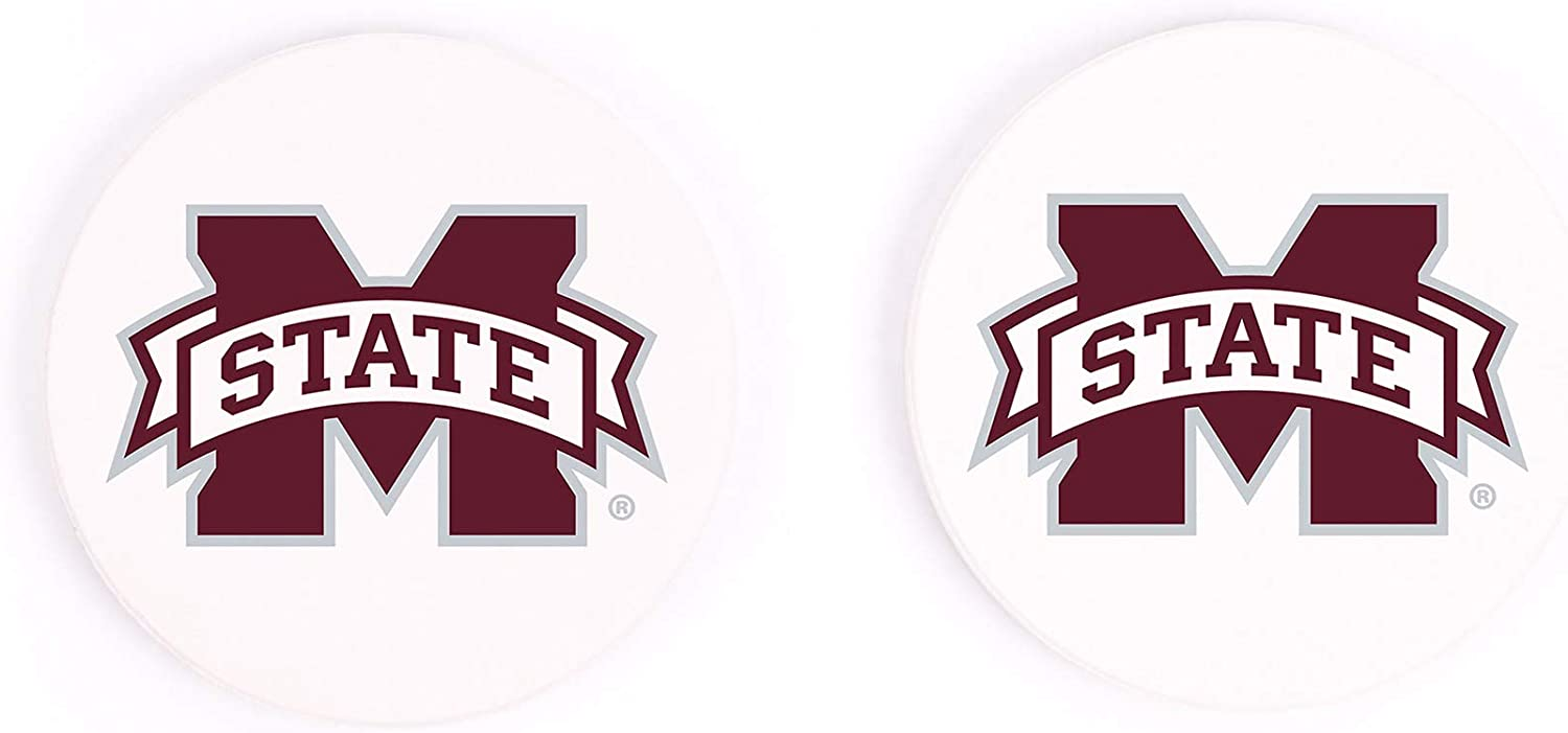 Mississippi State University Football Helmet 2.75 x 2.75 Absorbent Ceramic Car Coasters Pack of 2