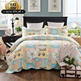 mixinni Seashell Beach Bedding Quilt Set Beach Theme Bedspread Sets King With Shams Shell Print Pattern Ocean 100% Cotton Reversible Patchwork Coverlet