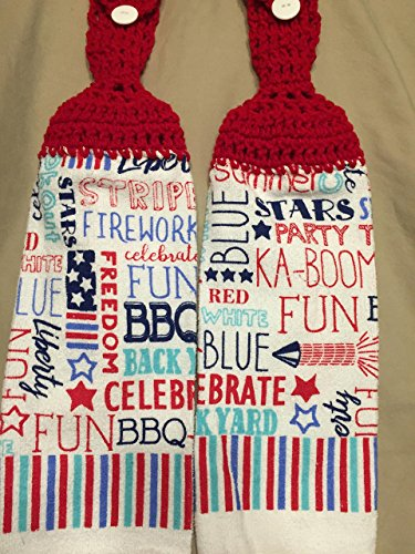 - Free shipping to USA included in price - 2 CROCHET KITCHEN hand TOWEL LIGHT/MEDIUM weight terry cloth - USA Americana 4th of July BBQ Fun - Cherry Red acrylic yarn top - smoke free - pet free