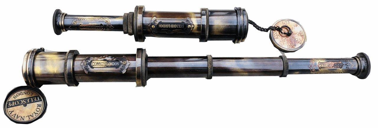 A S Handicrafts Vintage Brass Antique Spyglass Handheld Telescope