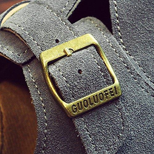 ZHANGRONG-- Zapatos de mujer zapatos de fregar Primavera y verano Acogedor piso superficial con zapatos casuales ( Color : Verde oscuro , Tamaño : 36 ) Gris