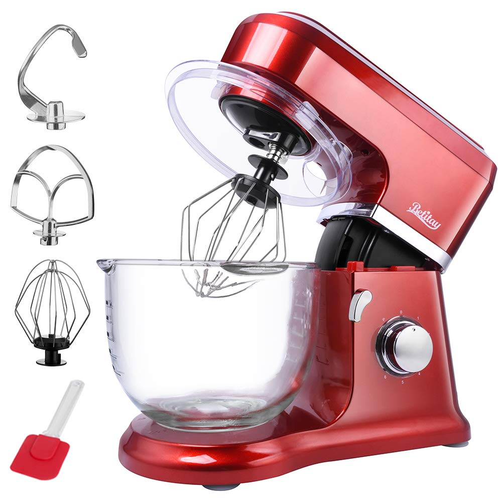 Betitay Electric Stand Mixer,6 Speeds Baking Mixer with Visual 4.0 QT Glass Mixing Bowl include Splash Guard,Beater,Egg Whisk,Dough Hook,500 Watts(Red)