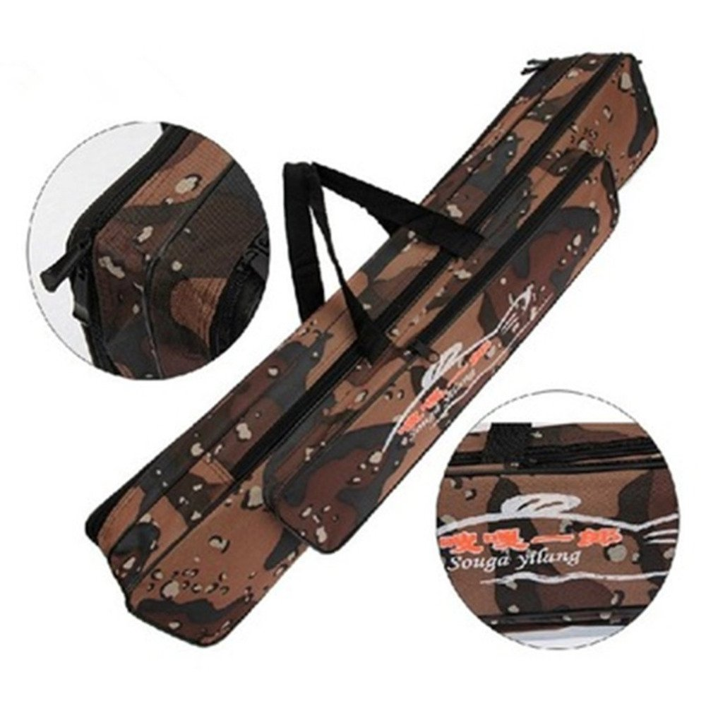 80cm Double Layer Camouflage Fishing Rod Bag Foldable Waterproof Oxford Cloth by Isguin (Image #2)
