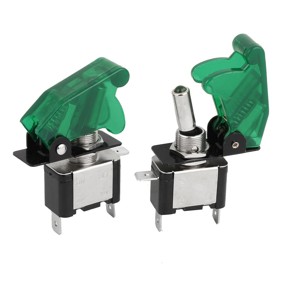uxcell 2Pcs Green Lighted Toggle Switch 12V 20A ON Off Car Boat ATV Airplane