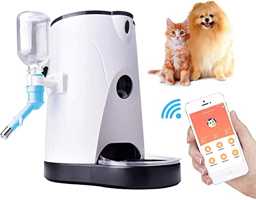 Dispensador Automático De Alimentos Con Alimentador Wifi Para Mascotas Con Cámara Para Perros Y Gatos, De 4 Litros Con Video En Tiempo Real, Grabación De Voz, Alimentación Con Tiempo, Blanco: Amazon.es: Productos