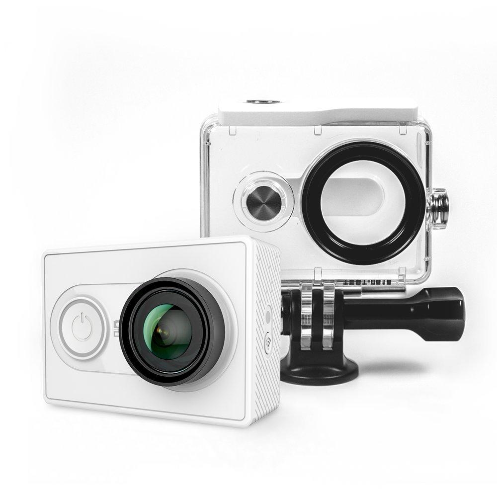 YI Action Camera con Custodia Impermeabile, Videocamera Action Cam HD, 1080p / 60 fps, 720p / 120 fps, Fotocamera Digitale 12 MP, Waterproof Case, Wifi, Bluetooth 4.0 (Bianco)