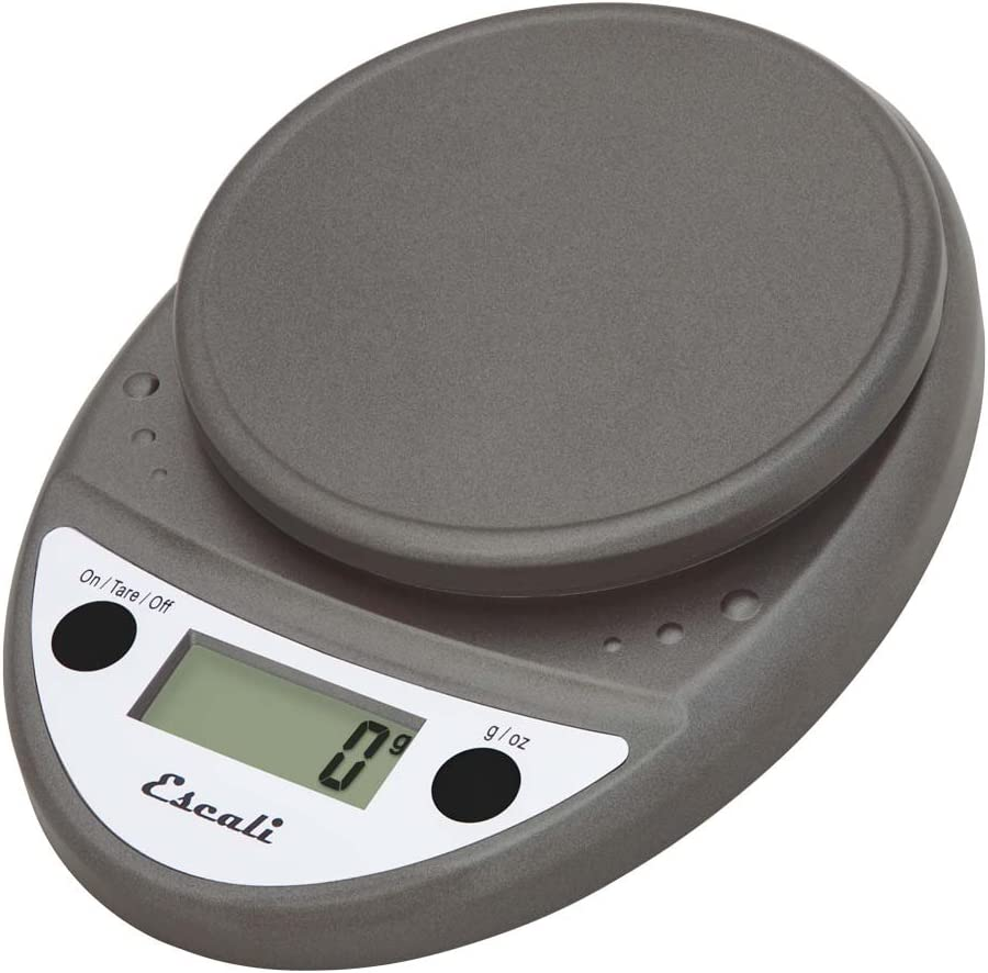 Escali Primo P115M Precision Kitchen Food Scale for Baking and Cooking, Lightweight and Durable Design, LCD Digital Display, Lifetime ltd. Warranty, Metallic