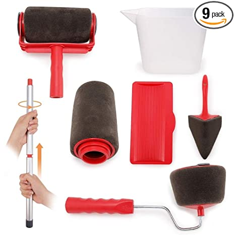 8Pcs DIY Paint Roller Kit Painting Seamless Brush Tool with Handle for Wall Ceil