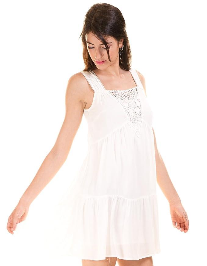 Vila Vestido Ibicenco Crochet Blanco Clothes (L - Blanco): Amazon ...