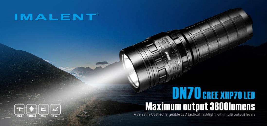 Promisen IMALENT DN70 XHP70 3800LM 26650 LED Flashlight Tactical Rechargeable Lighting by Promisen (Image #2)