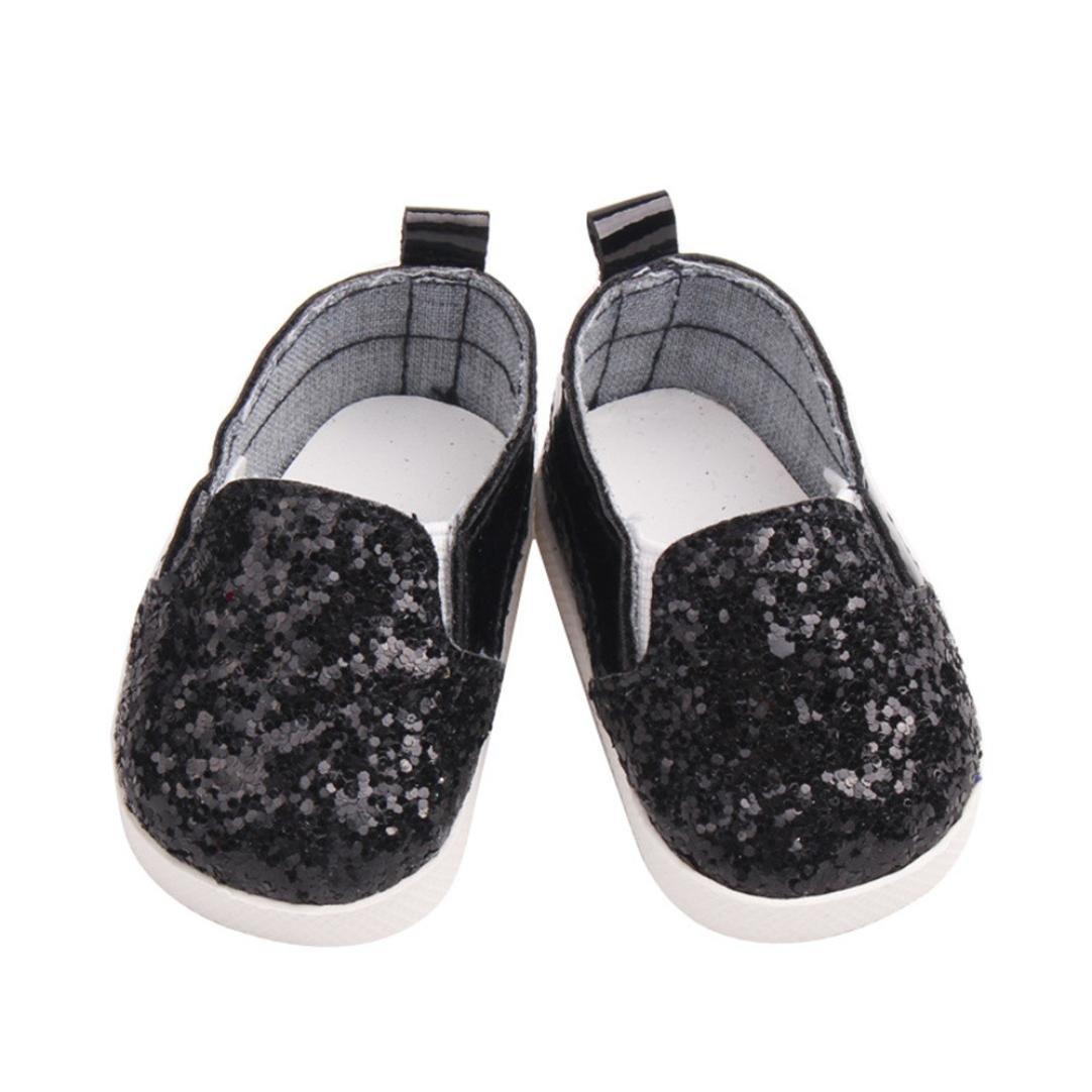 Leey Giochi e giocattoli Leey scarpe da bambola Glitter Doll Shoes Star Dress Shoe per 18 pollici Our American Girl non include le bambole Burattini jumping jack (bianco)