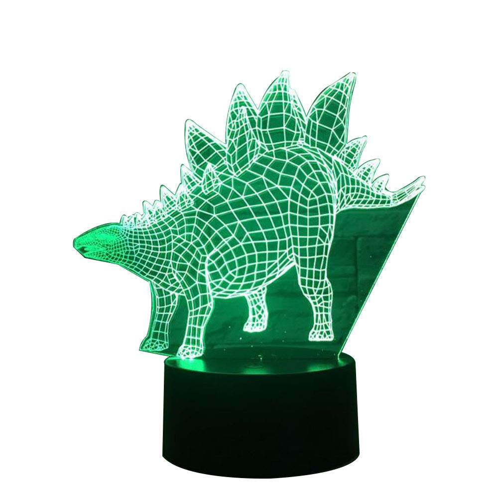 KAKA Store Triceratops Dinosaur Party Supplies Night Light Decorations,Indoor 3D Optical Illusion Desk Lamp 7 Colors Change Touch Button USB Produces Unique Visualization Lighting Effects Sculpture Light