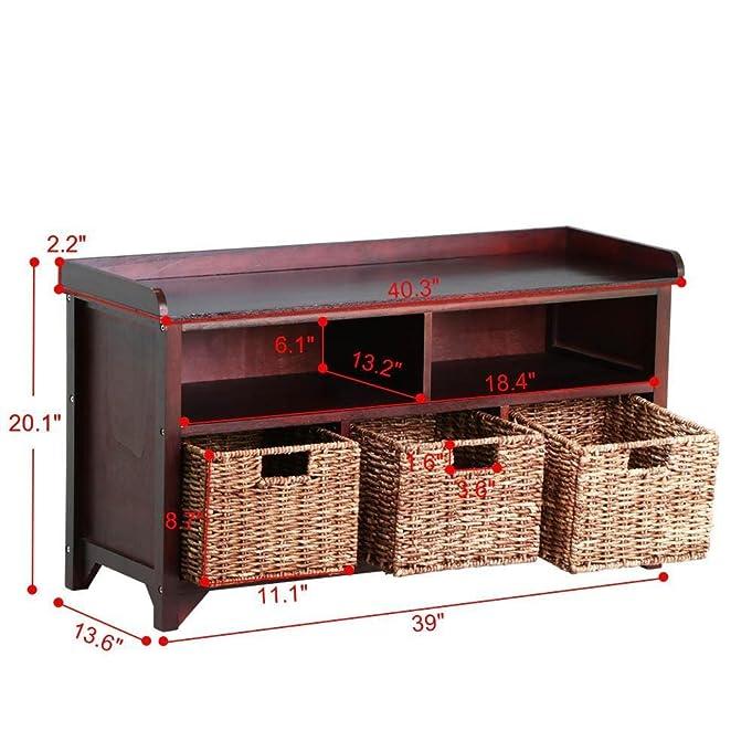 amazoncom go2buy antique wood storage bench shoe storage rack with rattan baskets u0026 organizer cube dark brown kitchen u0026 dining