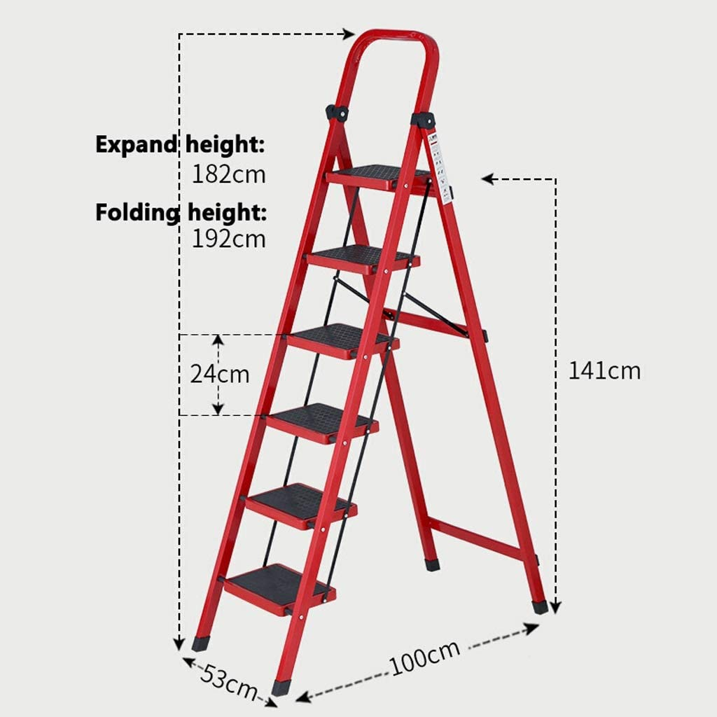 /Échelles de maison /Échelle multifonctionnelle /à 6 marches en acier au carbone pliable Color : Red CHQYY /Échelle Herringbone