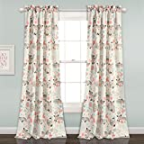 Lush Decor Lush Décor Pixie Fox Room Darkening Window Curtain Pair, Panel 84″ x 52″, Pink and Gray For Sale