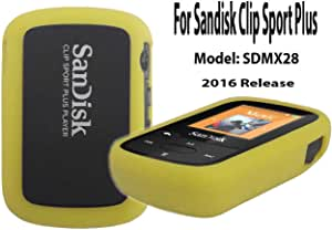 Silicone Case For SanDisk Clip Sport Plus Bluetooth MP3 Player (Model SDMX28) 2016 Release, Yellow