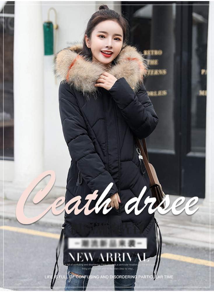 AZW@ Piumino, Giacca Invernale in Cotone da Donna, Piumino Lungo, Cappotto.Cappotto in Cotone Sciolto di Grandi Dimensioni, Giacca Nero