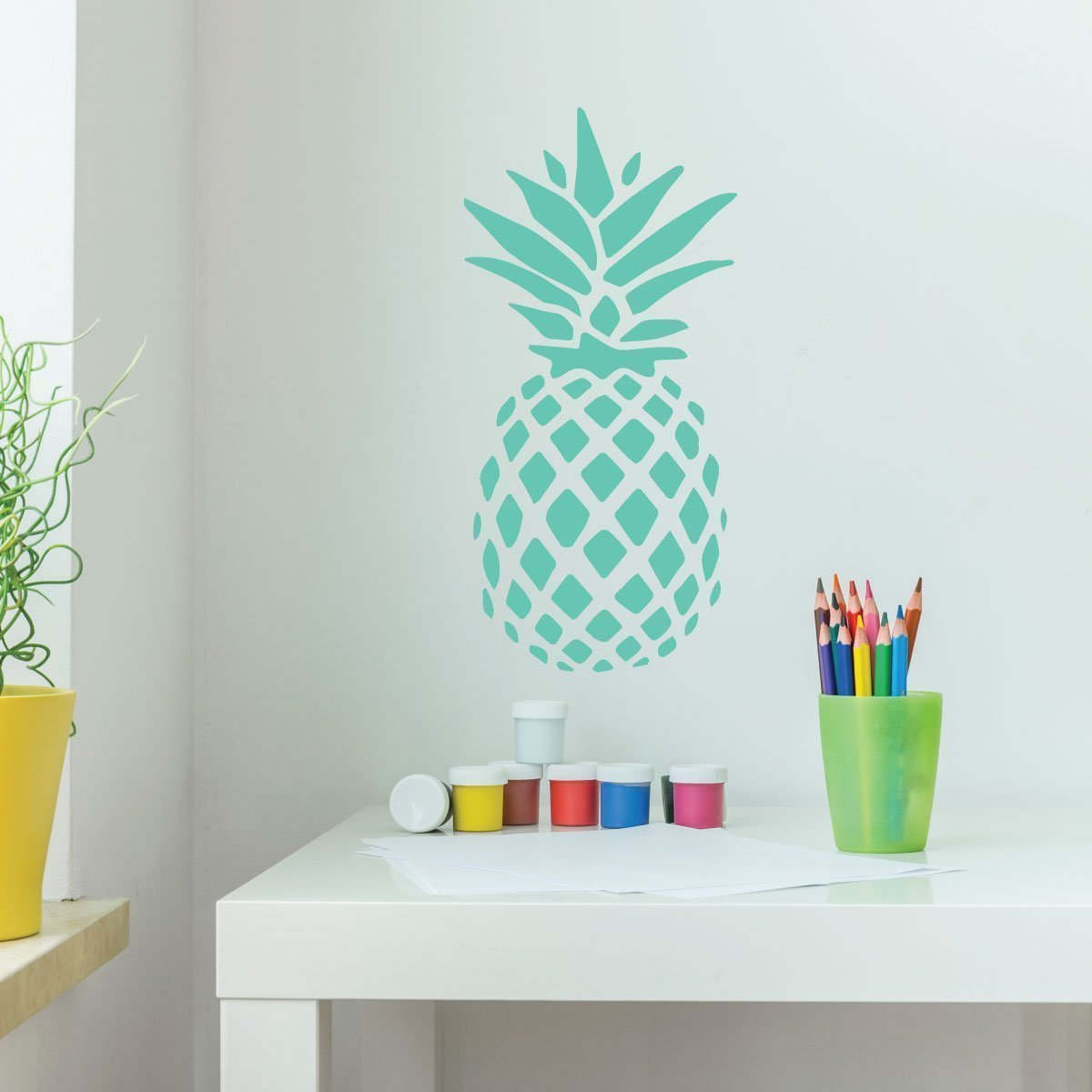 Amazon.com: Pineapple Decor - Vinyl Wall Decal With Hawaiian ...