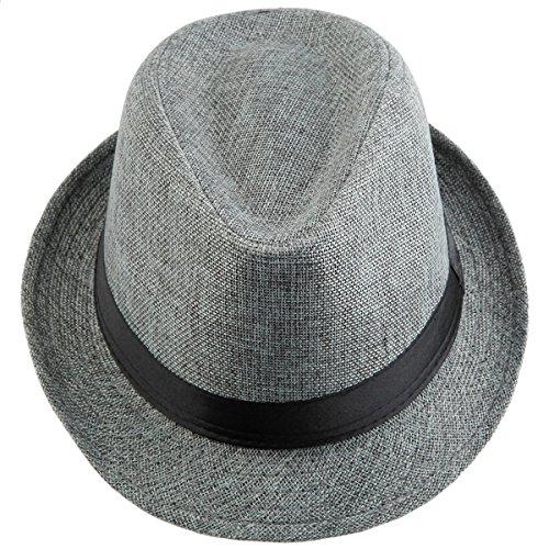 Samtree Fedora Hats for Women Men,Braid Straw Short Brim Jazz Panama Cap(01-Light -