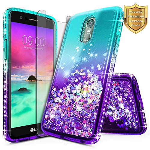 LG Stylo 3 Case, LG Stylo 3 Plus Case w/[Tempered Glass Screen Protector], NageBee Glitter Liquid Quicksand Waterfall Floating Flowing Sparkle Shiny Bling Diamond Clear Girls Cute Case -Aqua/Purple