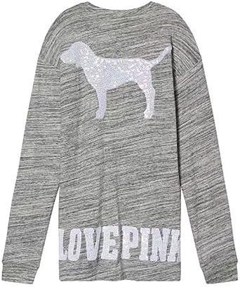 NWT VS VICTORIA/'S SECRET Long Sleeve Sweater Love Pullover Cotton M Medium Gray