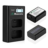 Powerextra 2 Pack Battery and Dual LCD Battery Charger for Sony NP-FW50 and Sony Alpha a6500, a6300, a6000, a7s, a7, a7s ii, a5100, a5000, a3000, a7r, a7 ii, NEX-3, NEX-3N, NEX-5, NEX-5N, NEX-5R, NEX-5T, NEX-6, NEX-7, NEX-C3