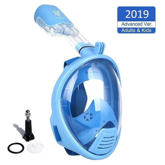 VILISUN Tauchmaske, Vollmaske Schnorchelmaske Vollgesichtsmaske mit 180° Sichtfeld, müheloses Atmen, Dichtung aus Silikon Ant