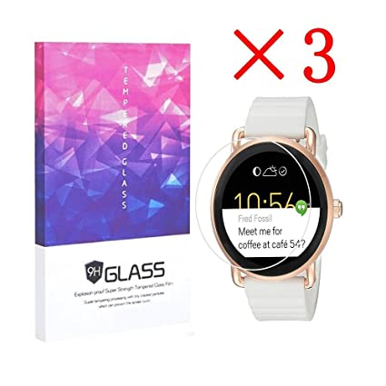 3X Fossil Q Wander Smartwatch Screen Protector Crystal Clear 9H 2.5D Tempered Glass Screen Protector Foils,Anti-Fingerprint,Anti-Glare,bubble-free ...