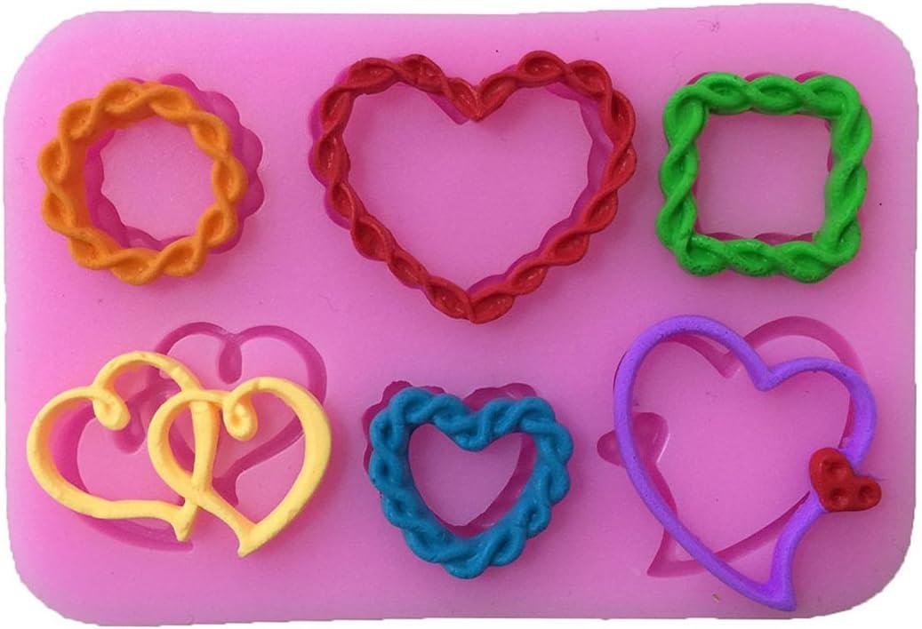 Cuerda del amor en forma de coraz/ón de silicona Fondant molde