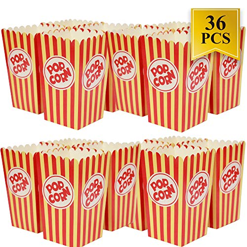 Movie Theater Popcorn Boxes - 36 Pack Paper Popcorn Boxes Striped Red and White - Prefect for Movie Night or Movie Party Theme by WEEPA