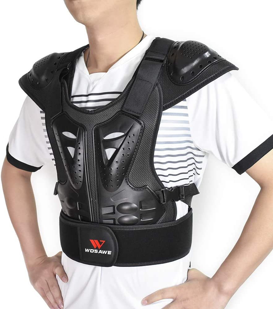 WOSAWE Adults Motorcycle Body Armor ATV Protective Vest Dirtbike Chest Back Protector Small