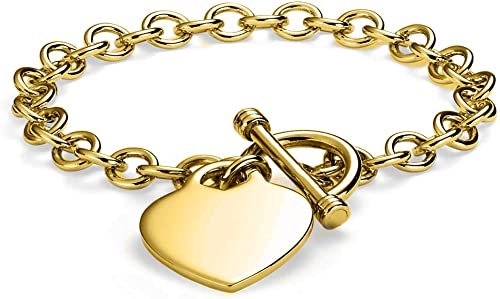 Gold Plated Toggle Charm Bracelet