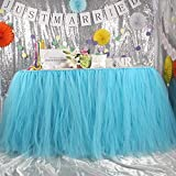 AerWo Tutu Table Skirt Tulle Queen Snowflake Wonderland Tutu Table Skirt Table Cloth Wedding Birthday Baby Shower Princess Party Decoration Aqua Blue