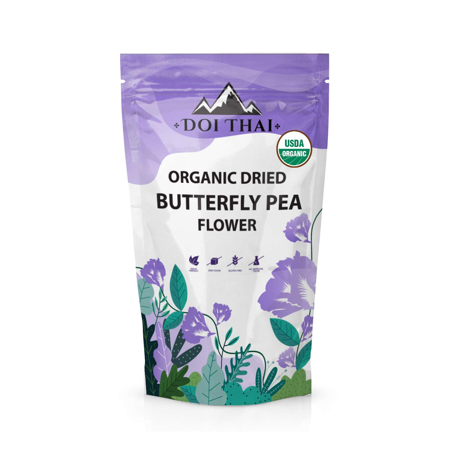 Doi THAI Butterfly Pea Flower Tea - NON GMO Rich Healthy Herbal Blue Tea - Pure Dried Clitoria Ternatea Flowers for Drinks, Food Coloring, Baking
