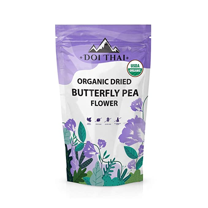 Amazon.com : Doi THAI Butterfly Pea Flower Tea - NON GMO Rich Healthy Herbal Blue Tea - Pure Dried Clitoria Ternatea Flowers for Drinks, Food Coloring, Baking : Grocery & Gourmet Food