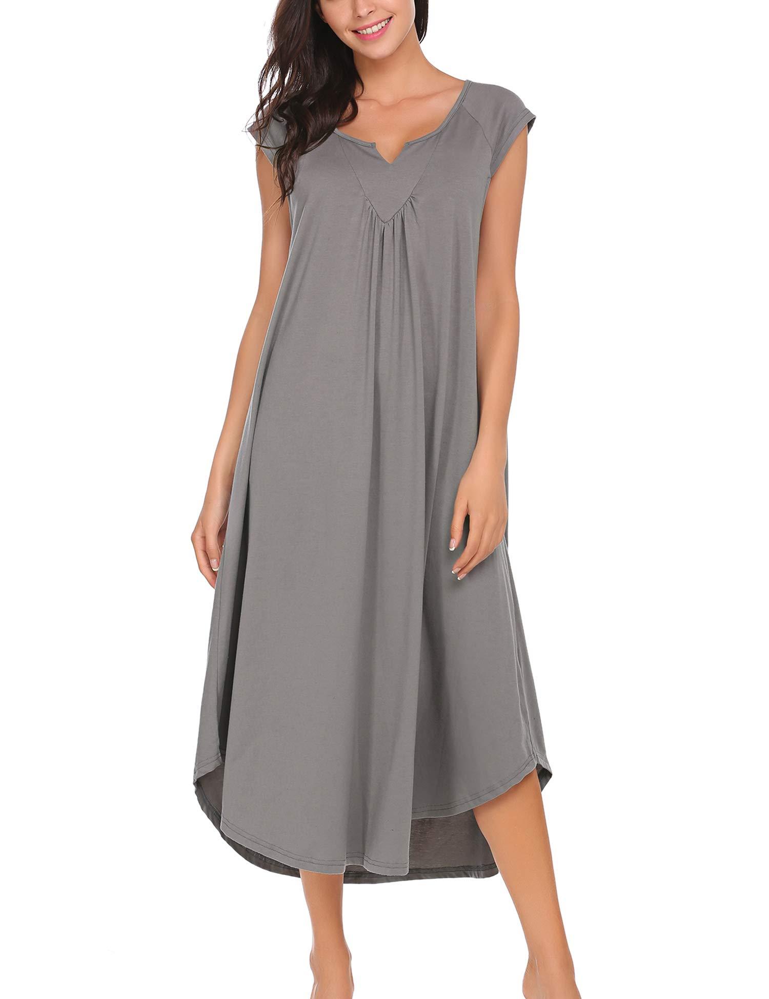 Ekouaer Women's Lingerie V Neck Nightwear Sexy Cotton Sleepwear Babydoll Pajamas Sleep dress, Grey, X-Large