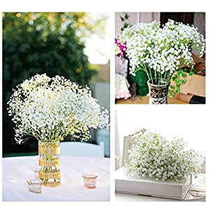 TiaoBug Baby Breath/Gypsophila Wedding Decoration White Colour Artificial Flowers,12 pieces 1