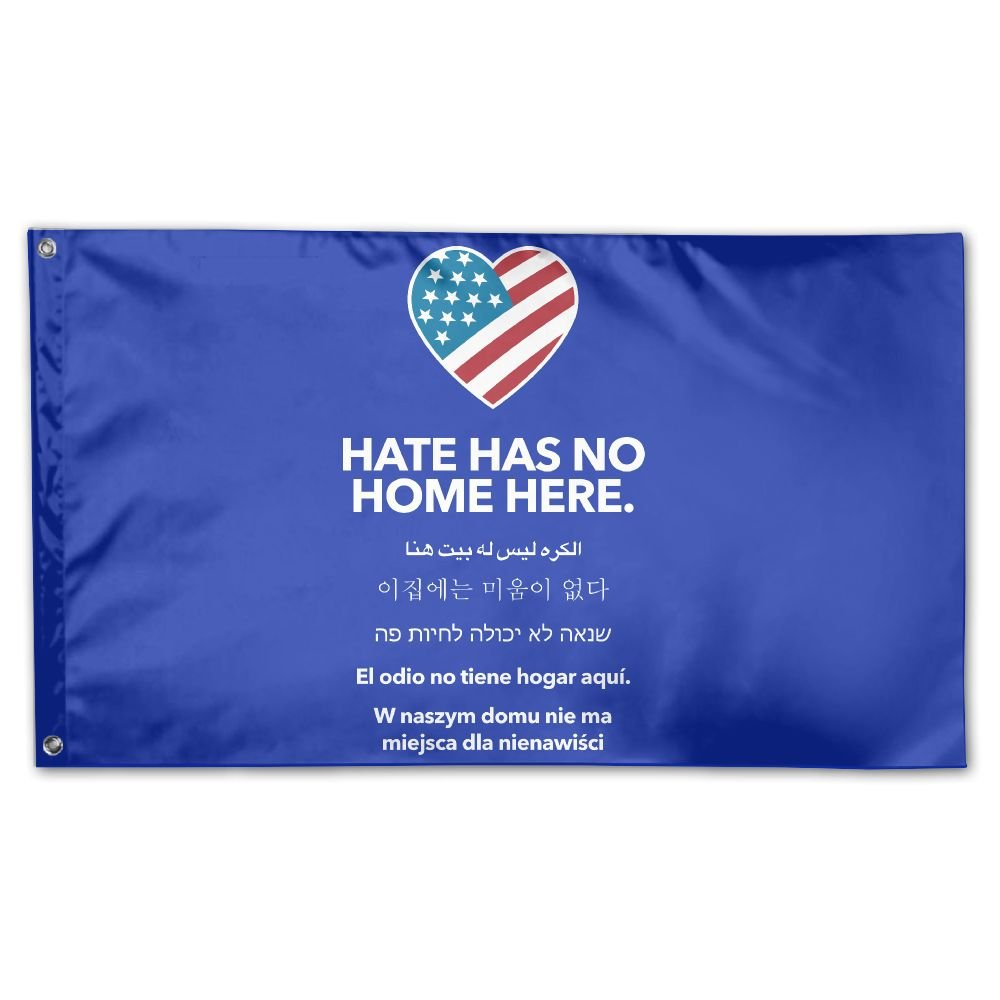 TUMMMM Hate Has No Home Here Garden Flag&Decorative Flag For Wedding Home Outdoor Garden&Anniversary Home Outdoor Garden Decor 3' X 5'