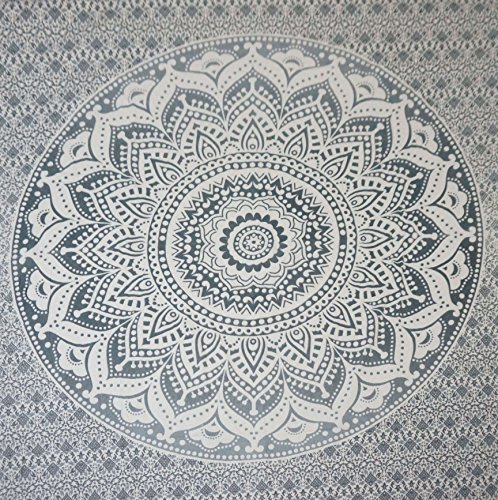 Cotton Hippy Indian Mandala Wall Hanging Bohemian Throw Decor Bedspread Tapestries (Grey Flower)