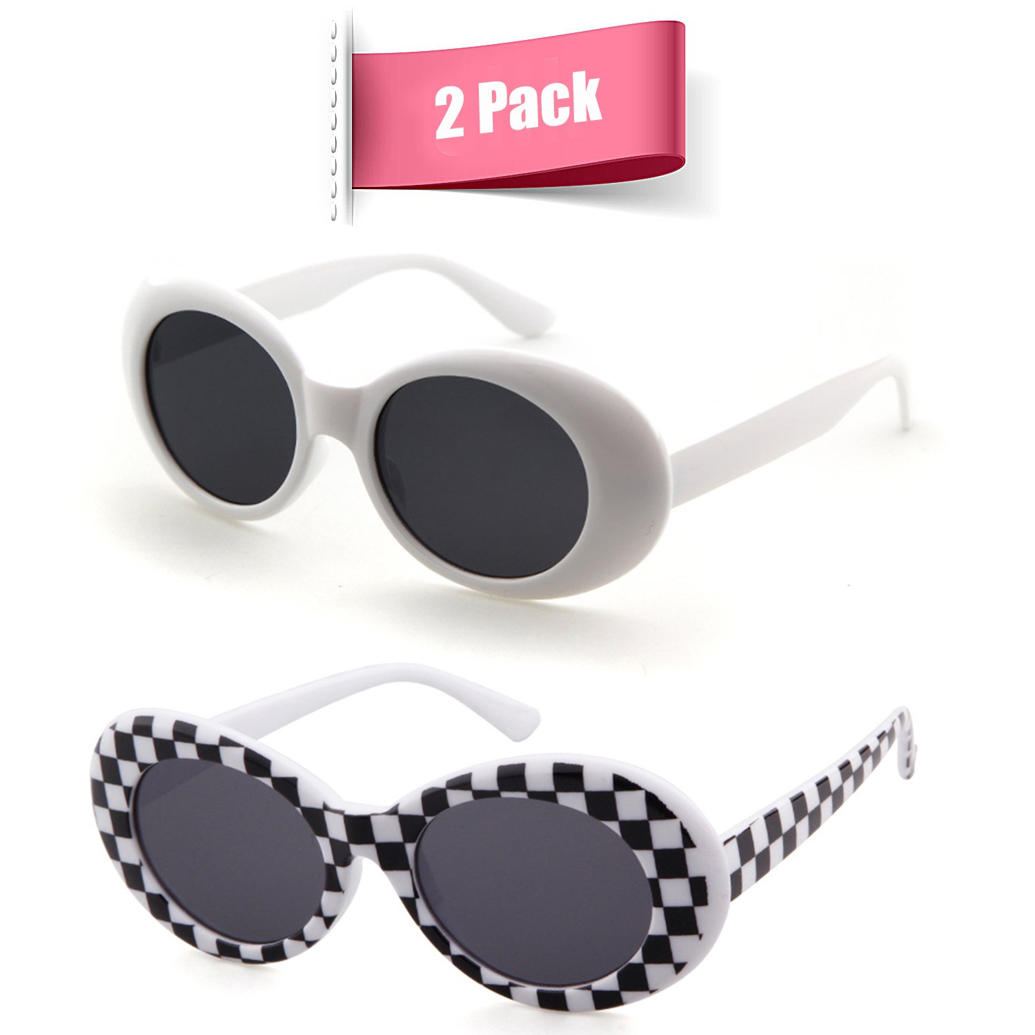 Bold Retro Oval Mod Thick Frame Sunglasses Clout Goggles with Round Lens (White&Grid, 51)